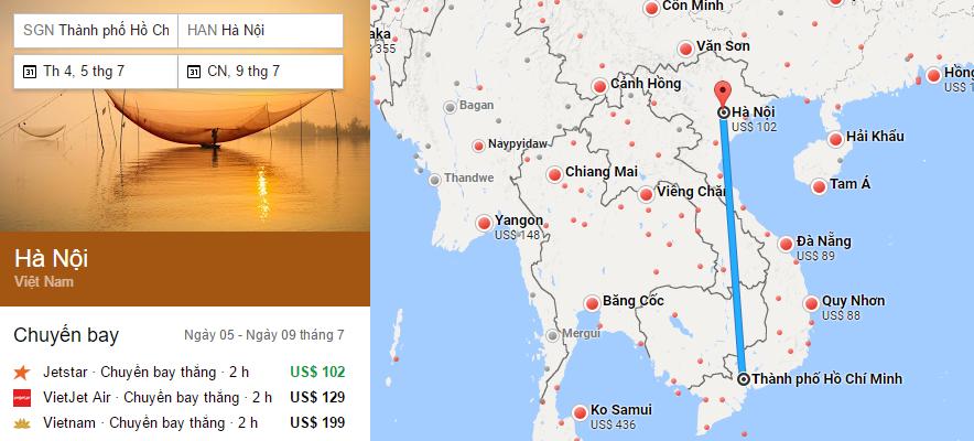 hành trình bay từ Sài Gòn đến Hà nội
