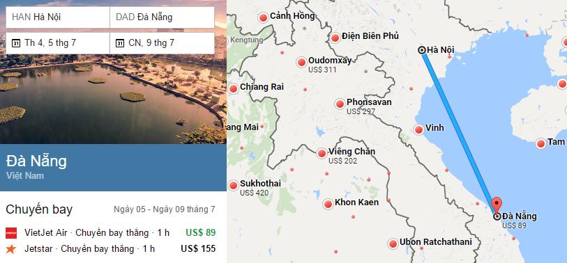 Hành trình bay từ Hà Nội đến Đà Nẵng