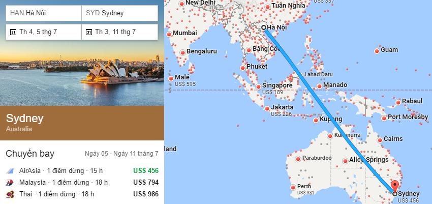 Tham khảo hành trình bay từ Hà Nội - Sydney