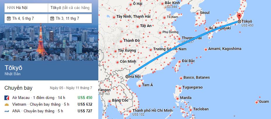 Tham khảo hành trình bay từ Hà Nội đến Tokyo