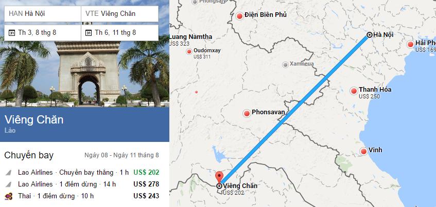 Tham khảo hành trình bay từ Hà Nội đến Vientiane