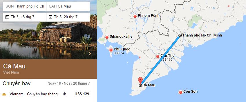 Hành trình bay từ TP HCM đến Cà Mau