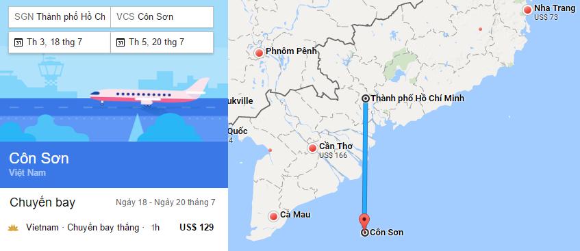 Hành trình bay từ TP HCM đi Côn Đảo