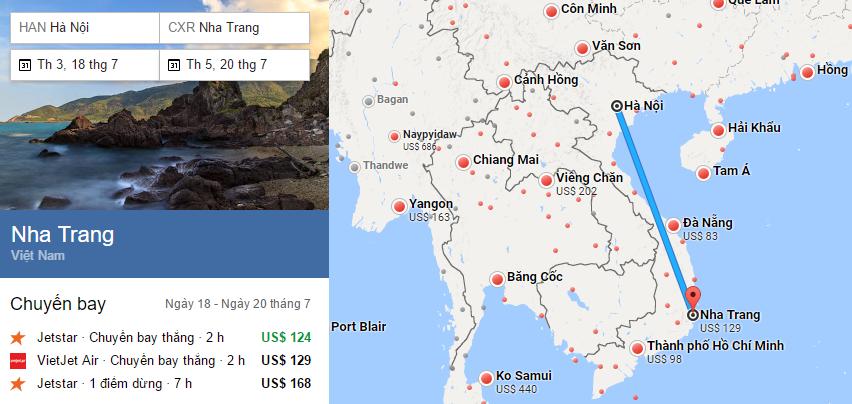 Hành trình bay từ Hà Nội tới Nha Trang