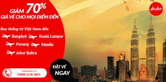 Đặt vé Air Asia giảm giá đến 70%