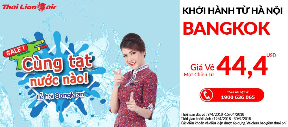 Đặt vé Hà Nội đi Bangok giá rẻ - Thai Lion Air