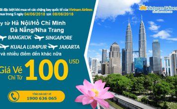 Vietnam Airlines KM vé khứ hồi bay quốc tế từ 100 USD