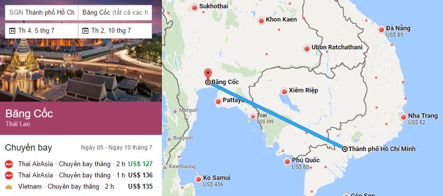 Tham khảo hành trình bay từ TP HCM đến Bangkok