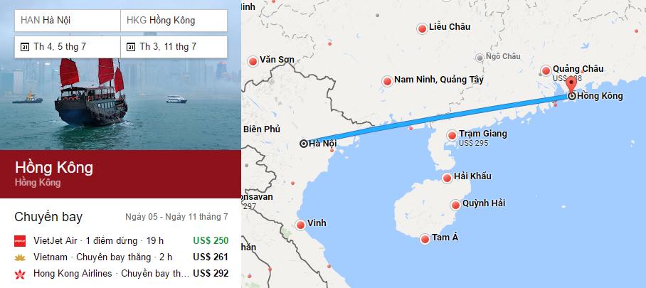 Tham khảo hành trình bay từ Hà Nội đến Hong Kong