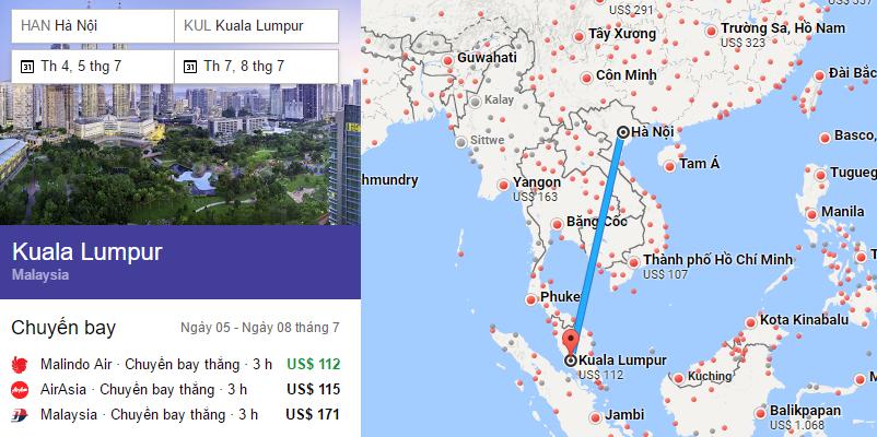 Tham khảo hành trình bay từ Hà Nội đến Kuala Lumpur