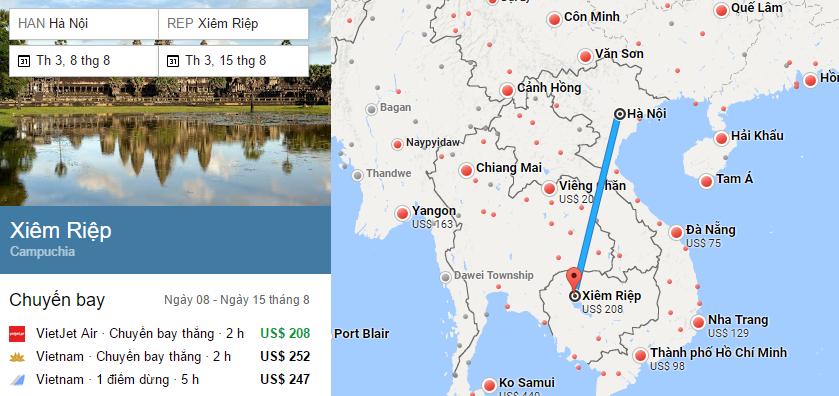 Tham khảo hành trình bay từ Hà Nội đến Siem Reap