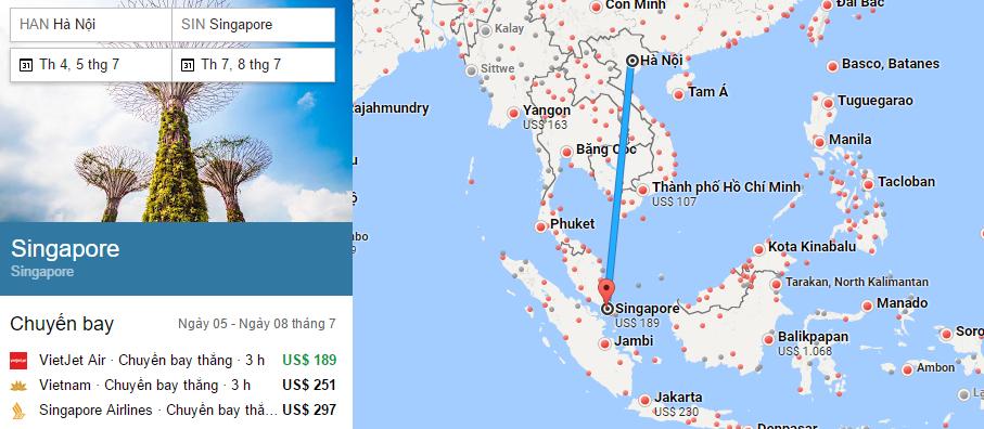 Tham khảo hành trình bay từ Hà Nội đến Singapore
