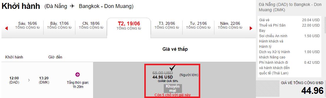 mẫu giá vé đi Bangkok giảm 50%