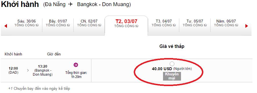 Giá vé máy bay khuyến mại đi từ Đà Nẵng tới BangKok