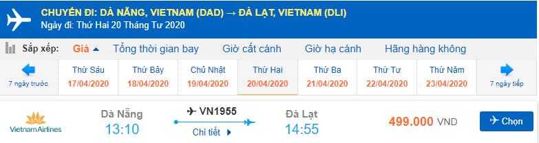 Giá vé máy bay Đà Nẵng đi Đà Lạt