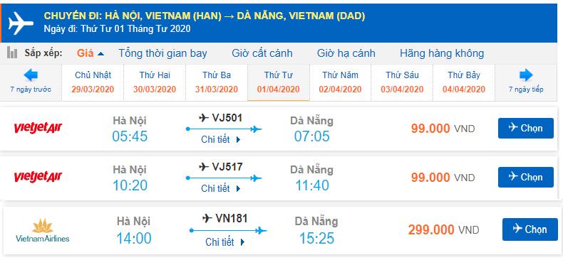 Giá vé máy bay Hà Nội đi Đà Nẵng