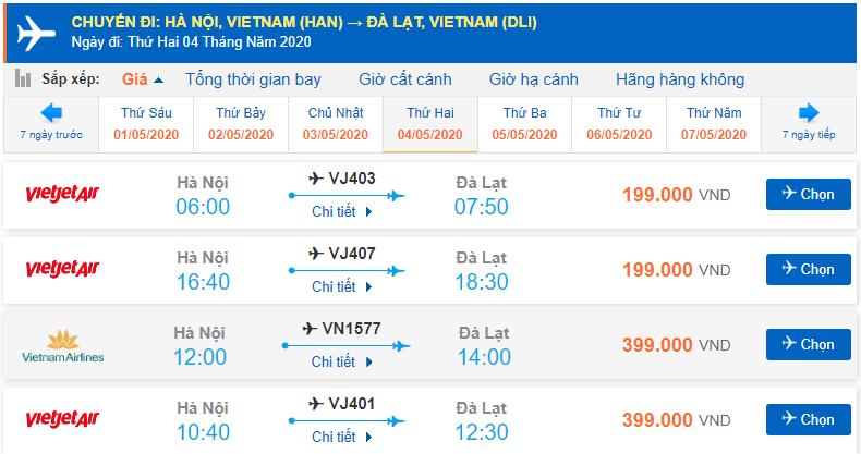 Giá vé máy bay Hà Nội đi Đà Lạt