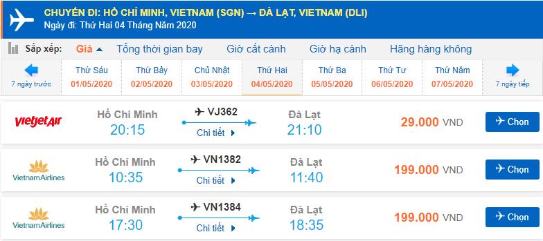 Giá vé máy bay TP. Hồ Chí Minh đi Đà Lạt