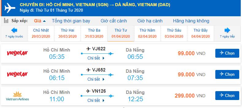 Giá vé máy bay TP. Hồ Chí Minh đi Đà Nẵng