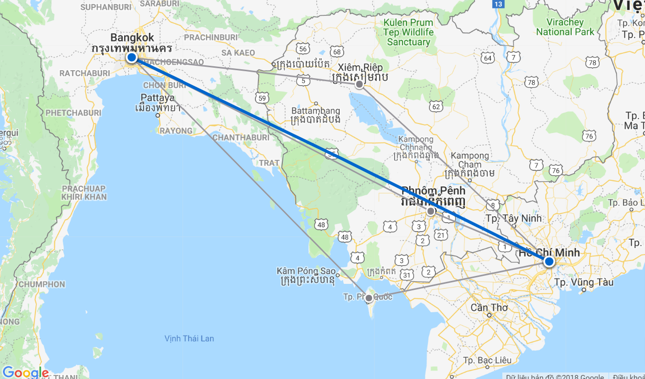 Đường bay từ Hồ Chí Minh đến Bangkok
