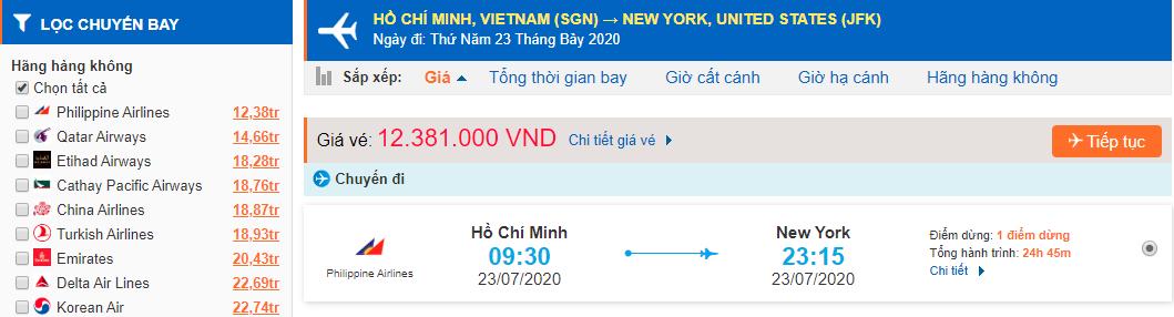 Giá vé máy bay từ Tp Hồ Chí Minh đi Mỹ
