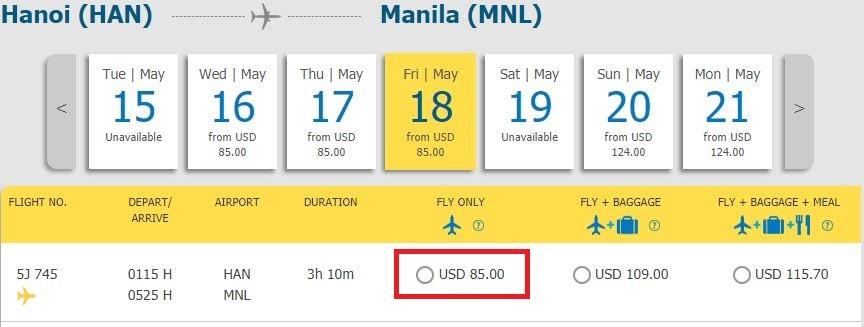 Mẫu giá đi Manila khuyến mại