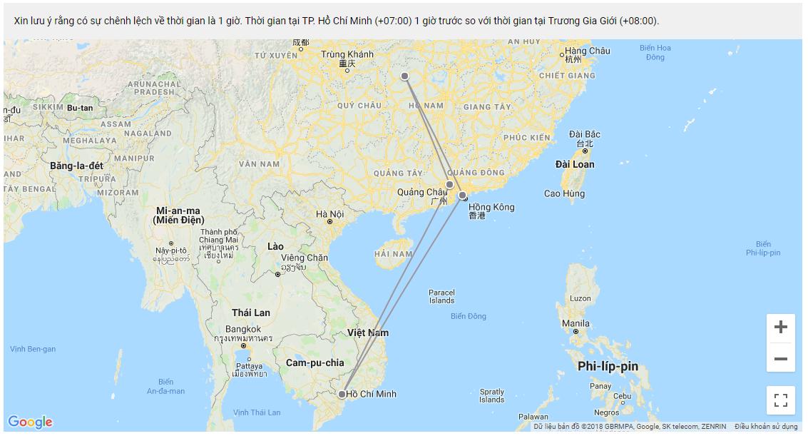 Đường bay từ Đà Nẵng- HongKong- Trương Gia Giới