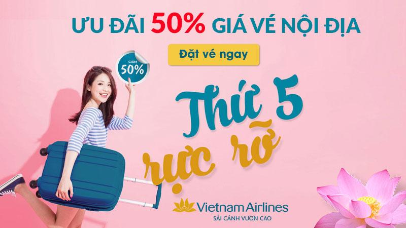 Giảm 50% khi mua vé máy bay nội địa Vietnam Airlines