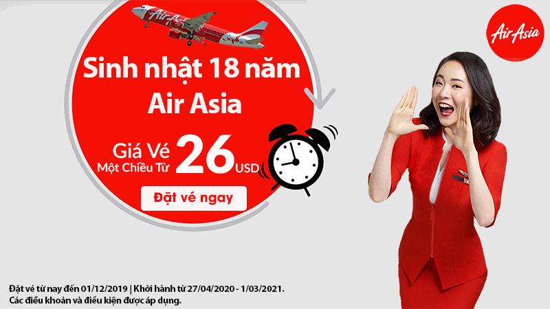 Khuyến mãi chỉ 618.000 VND mừng sinh nhật Air Asia