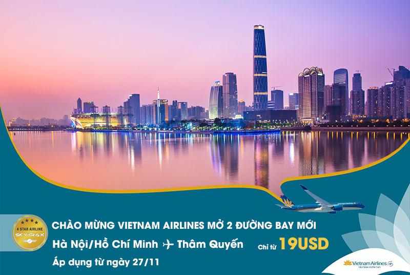 Khuyến mãi Vietnam Airlines chỉ 19 USD đến Thâm Quyến