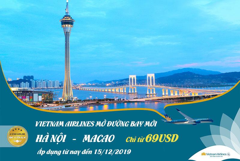 Vietnam Airlines mở đường bay mới Hà Nội – Macao chỉ 69 USD