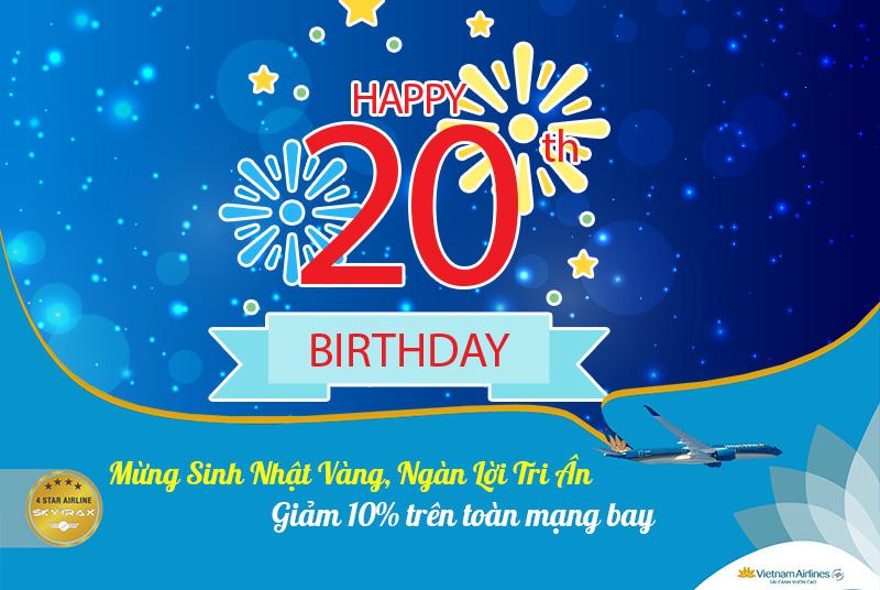 Giảm 10% khuyến mãi Sinh nhật vàng từ Vietnam Airlines