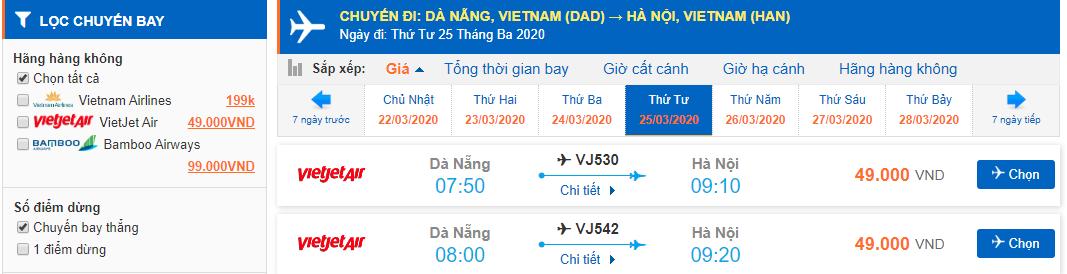 Giá vé máy bay Đà Nẵng đi Hà Nội