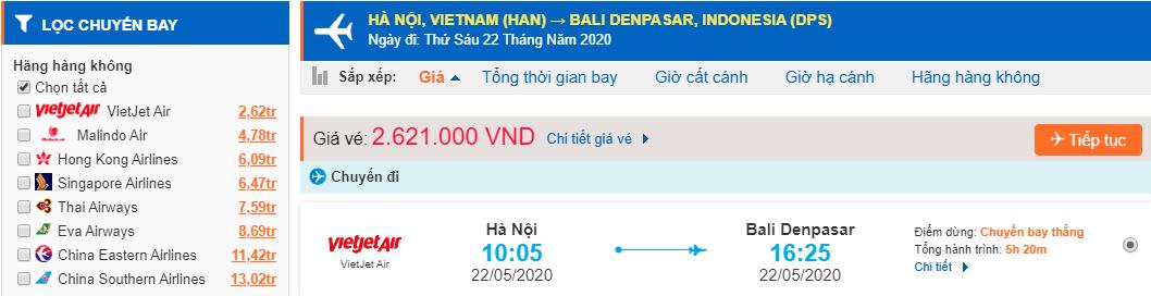 Vé máy bay đi Bali từ Hà Nội