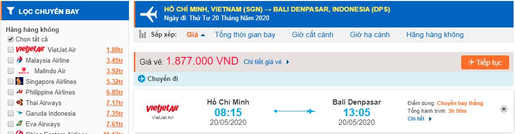 Vé máy bay Hồ Chí Minh đi Bali