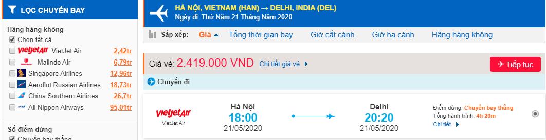 Vé máy bay đi Ấn Độ từ Hà Nội
