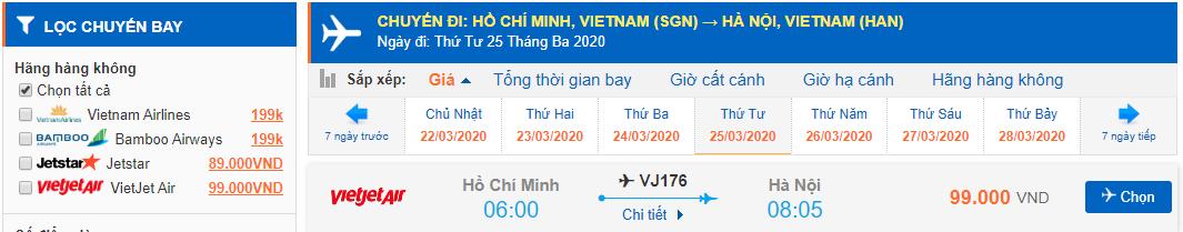 Giá vé máy bay Hồ Chí Minh đi Hà Nội