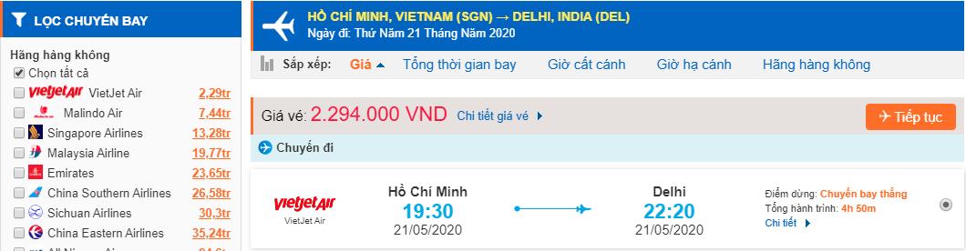 Vé máy bay đi Ấn Độ từ Hồ Chí Minh