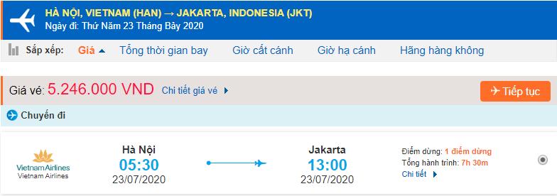 Vé máy bay đi Jakarta từ Hà Nội Vietnam Airlines
