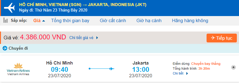 Giá vé máy bay đi Jakarta từ Hồ Chí Minh Vietnam Airlines