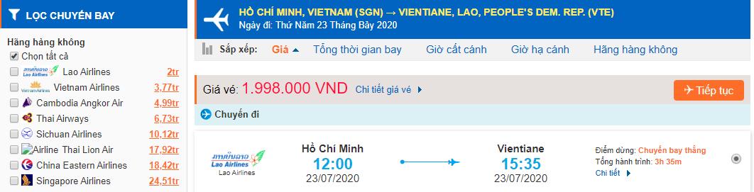 Giá vé máy bay từ Tp Hồ Chí Minh đi Viêng Chăn