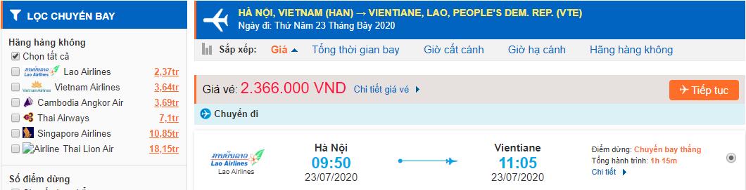 Vé máy bay từ Hà Nội đi Viêng
