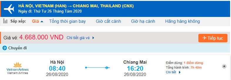 Vé máy bay đi Chiang Mai từ Hà Nội Vietnam Airlines