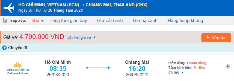 Vé máy bay đi Chiang Mai từ Hồ Chí Minh Vietnam Airlines