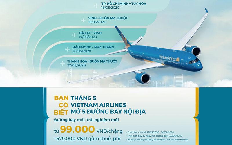 Vietnam Airlines khai thác đường bay mới với giá chỉ từ 99.000 VND/ chiều