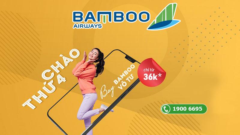 Khuyến mãi chào thứ 4 bay vô tư Bamboo Airways chỉ từ 36.000 VND