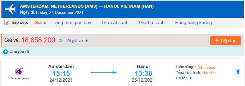 Giá vé máy bay từ Hà Lan về Hà Nội