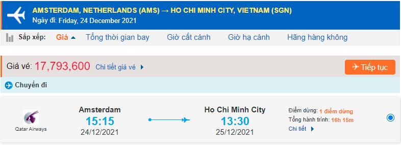 Vé máy bay từ Hà Lan về Hồ Chí Minh