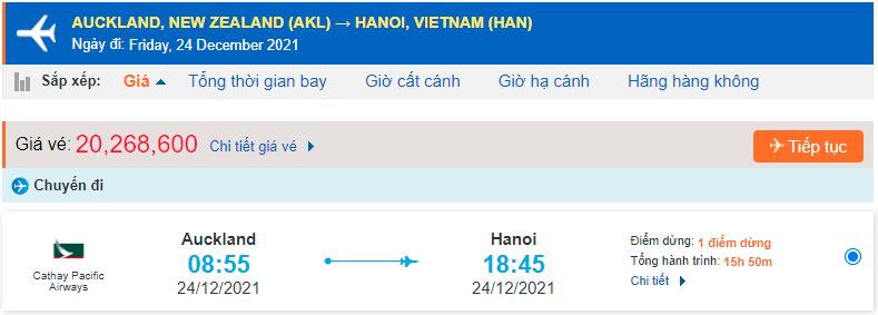 Giá vé máy bay từ New Zealand về Hà Nội