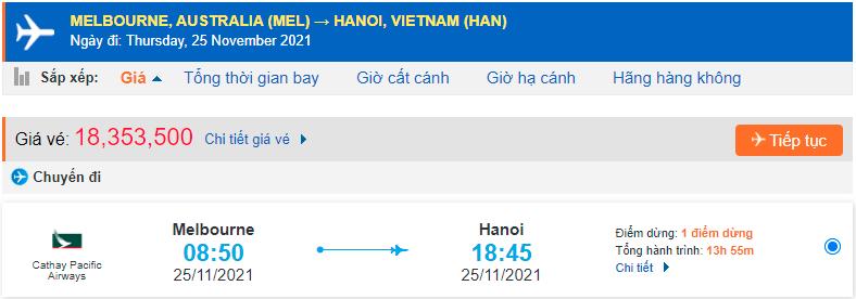 Vé máy bay từ Melbourne về Hà Nội